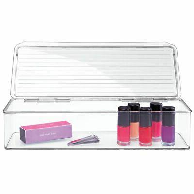 mDesign Organizer Box Lid for Bathroom Vanity Clear