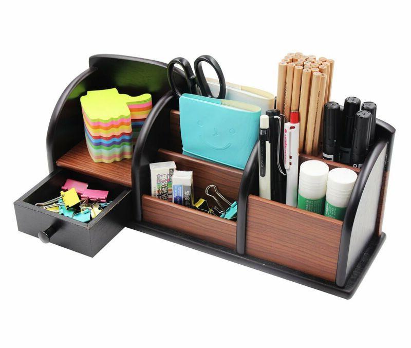 Wooden Desk Organizer Supplies Storage Drawer Tray