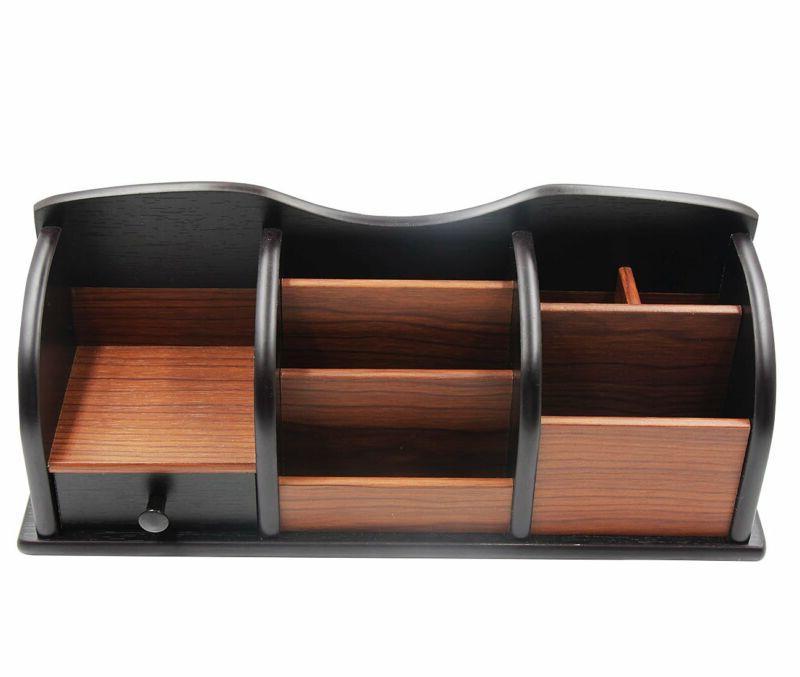 Wooden Desk Organizer Office Supplies Accessories Storage Drawer Tray