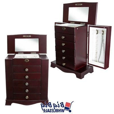 Wooden Jewelry Treasure Amoire Cabinet Drawer Mirror
