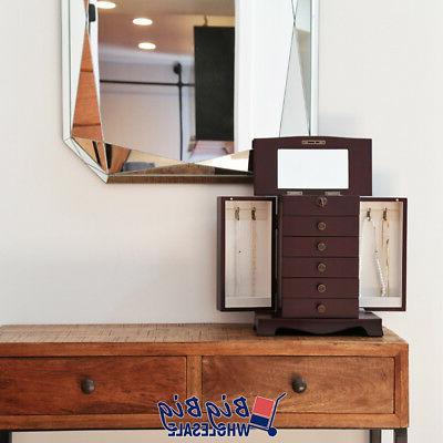 Wooden Jewelry Treasure Cabinet Storage Box Organizer Drawer