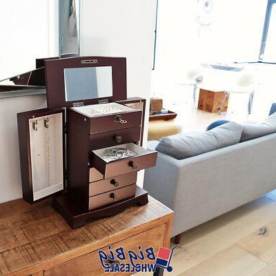 Wooden Jewelry Treasure Amoire Cabinet Organizer Drawer W/ Mirror