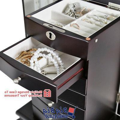 Wooden Jewelry Storage Organizer Cabinet Drawer Mirror