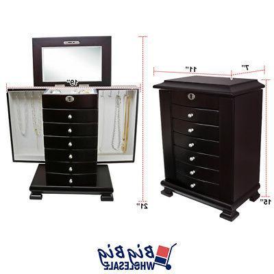 Wooden Jewelry Storage Box Organizer Drawer
