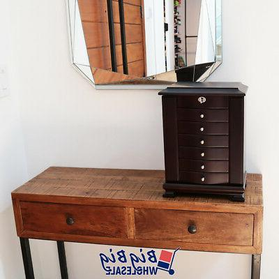 Wooden Jewelry Amoire Storage Box Drawer W/ Mirror