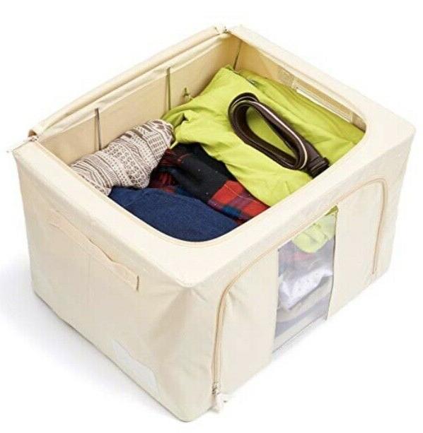 Zipper Storage Bin, Fabric Foldable W/See-Through Window