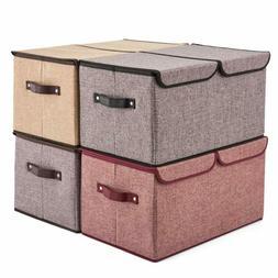 Large Lidded Storage Boxes  EZOWare Linen Fabric Foldable Cu