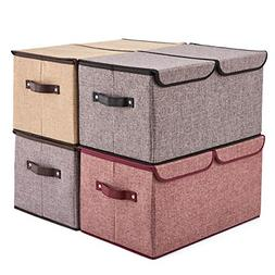 EZOWare Large Lidded Storage Boxes  Linen Fabric Foldable Cu