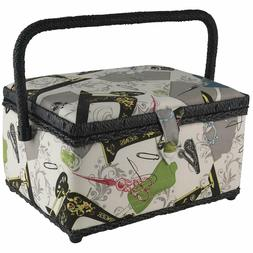 Large Sewing Basket Storage Box Vintage Organizer With Acces