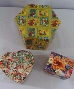 Lot of 3  New Decorative Lidded Storage Gift Boxes: Hexagon,