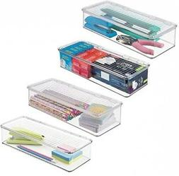 mDesign Long Stackable Plastic Office Supplies Storage Organ
