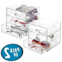 mDesign Stackable Eye Glass Storage Organizer Box with 3 Dra