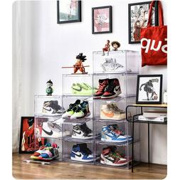 Magnetic Side Open Storage Shoe Box Transparent Stackable Sn