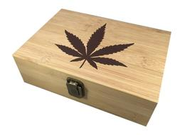 Marijuana Leaf Decorative Bamboo Wood Storage Leaf Stash Box