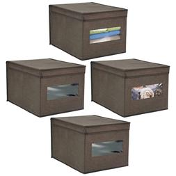 mDesign Soft Fabric Stackable Closet Storage Organizer Holde
