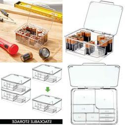 mDesign Stackable Divided Battery Storage Organizer Box Bin