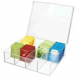 mDesign Tea Storage Organizer Box - 8 Divided Sections, Easy