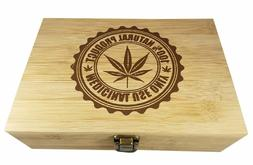 Medical Marijuana Decorative Bamboo Wood Storage Leaf Stash