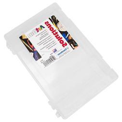 Medium Clear Plastic Craft Supplies Storage Box 12 Dividers