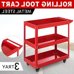 Metal Rolling Tool Cart Storage Chest Box Wheels Storage Tra