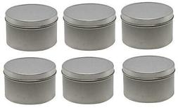 6 pack Metal Silver Matte Tin Box Round Storage Container w