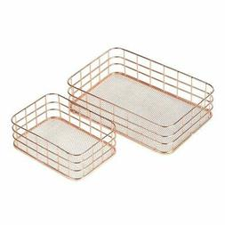 Juvale Metal Wire Baskets - 2-Set Nesting Copper Mesh Storag