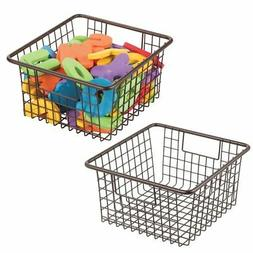 mDesign Metal Wire Kids Toy Box Storage Organizer Basket Bin