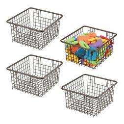 mDesign Metal Wire Kids Toy Box Storage Organizer Basket Bin