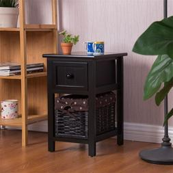 Mini 2 Tier 1 Drawer Wood Nightstand with Basket MDF and Sol