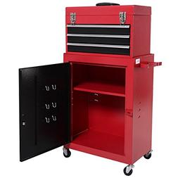 2pc Mini Tool Chest & Cabinet Storage Box Rolling Garage Too