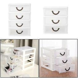 Mini Desktop Organizer 3/4 Drawer Tower Plastic Storage Box