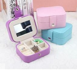 Mini Leather Jewelry Box Storage Travel Portable To Go