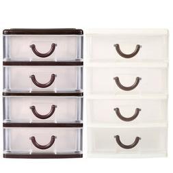 Mini Storage Tower 4Drawer Plastic Cabinet Bin Organizer Box