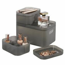 mDesign Modern Compact Plastic Storage Bins with Lids - Set