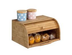 Betwoo Natural Wooden Roll Top Bread Box Kitchen Food Storag