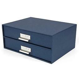 NEW Bigso 2-Drawer Thin Label Frame Birger File Storage Box,