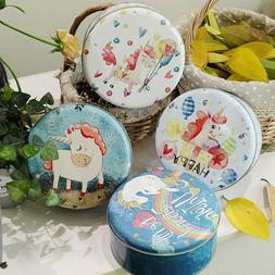 New Creative Round Color Printing Unicorn Home Storage Biscu