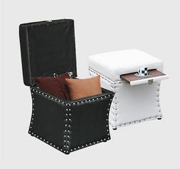 New Faux Leather Ottoman Storage Box Lounge Seat Foot Stool