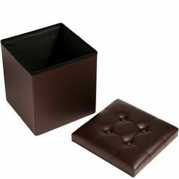 New Faux Leather Storage Footstool Sofa Ottoman Bench Foldin