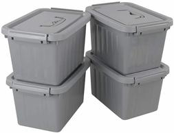 Grey Plastic Storage Bin, 6 Quart Latching Box Container wit