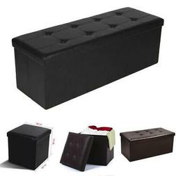 New Leather Storage Box Ottoman Seat Foot Stool Chair Lounge
