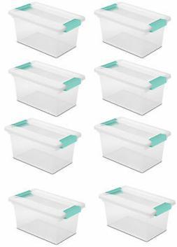 New Sterilite Medium Clip Box Clear Storage Tote Container w