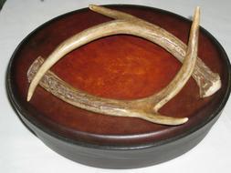 New Round Leather and Suede Storage Keepsakes Box Handmade O