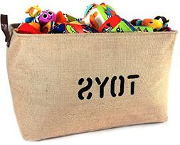 "NEW! XXXLARGE Jute Basket ""TOYS"" 22""Long x 14"" DEEP Storage"