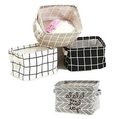 LNHOMY Pack of 4 Nursery Fabric Storage Baskets Fabric Colla