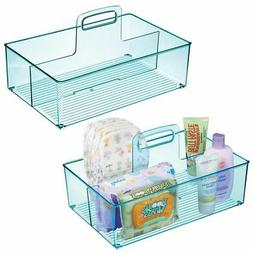 mDesign Nursery Plastic Divided Storage Tote Caddy, Large