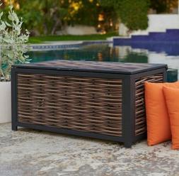 Outdoor Wicker Storage Box Brown 50 Gallon Resin Deck  Pool