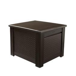 Rubbermaid Cube Patio Chic Outdoor Storage, Dark Teak Basket