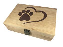 Paw Print Decorative Bamboo Wood Storage Jewelry Stash Box -
