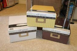 photo storage box plain tan yellow brown